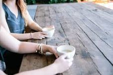 Coffee at a picnic table